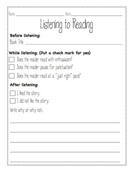 Listen to Reading Worksheet (Daily Five)