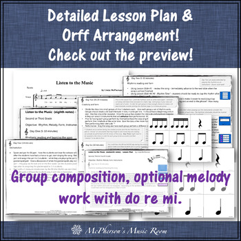Elementary Music Lesson ~ Listen to the Music Orff, Rhythm, Melody & Composition