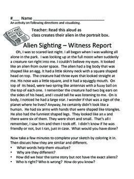 Listen...Aliens!  -- A Following Directions Activity