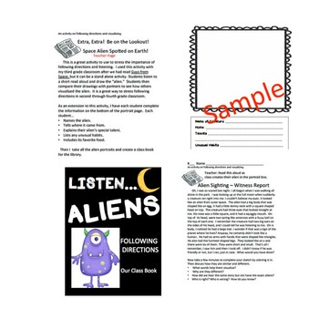 Listen...Aliens!  -- A Following Directions Activity