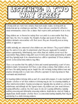 Listening: A Two Way Street Counseling Lesson Plan
