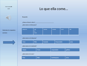 Listening Activity in Spanish : related to food.