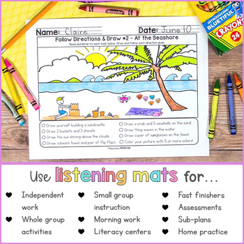 Listening & Following Directions Activities for June | Distance Learning