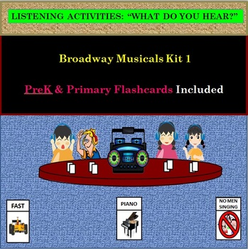 Listening Activity: Broadway Musicals Kit 1: PreK & Primary Flashcards Included