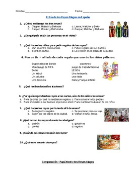 Listening Activity - Día de los Reyes en España (3 Kings' Day in Spain)