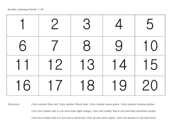 Listening Activity:  FREE Numbers 1-20 (for preschool, kindergarten, 1st)