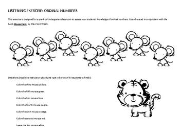 Listening Activity: Ordinal numbers (for preschool, kindergarten, 1st)