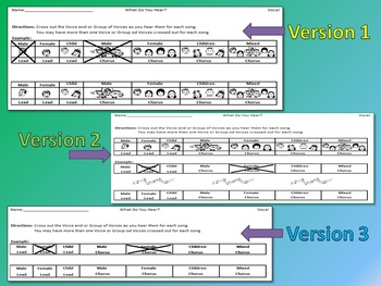 Listening Activity Worksheets: General Vocal Categories and Poster