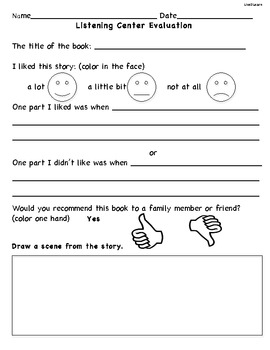 Listening Activity for Literacy Centers