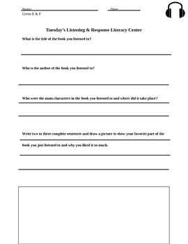 Listening And Response Literacy Center Materials