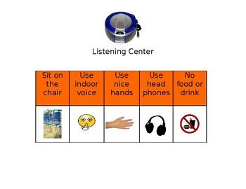 Listening Center Behavior Visual Support ESL Autism Special Education Modifiable