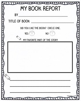 Listen to Reading Book Report Activities
