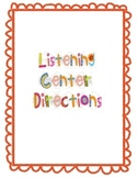 Listening Center Directions Poster and Response Sheet