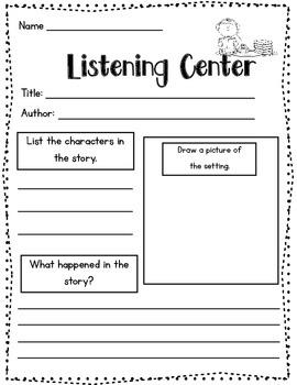 Listening Center {Recording Sheet}