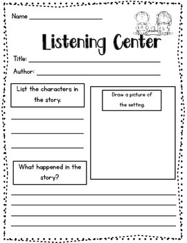 Listening Center {Recording Sheet}