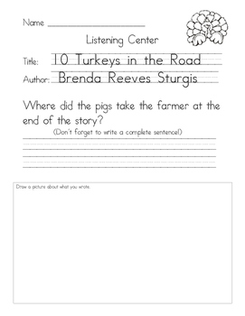Listening Center Response - 10 Turkeys in the Road by Brenda Reeves Sturgis