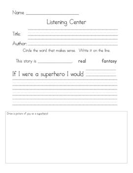 Listening Center Response - Eliot Jones Midnight Superhero by Anne Cottringer