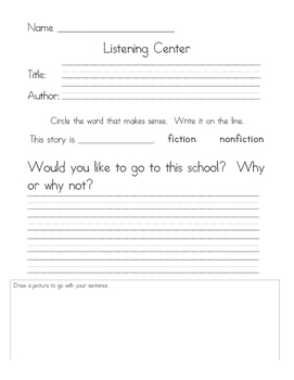 Listening Center Response - Gingerbread Man Loose in the School by Laura Murray