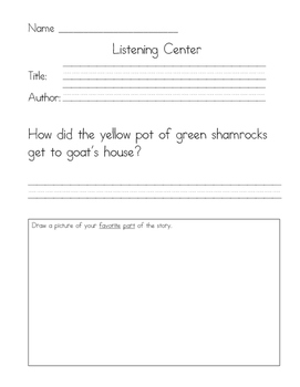 Listening Center Response - Green Shamrocks by Eve Bunting