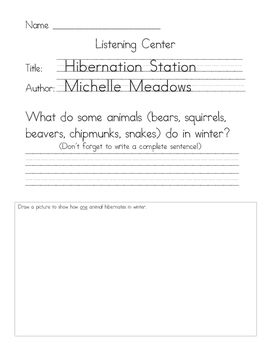 Listening Center Response - Hibernation Station by Michelle Meadows