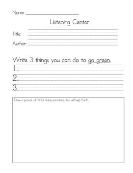 Listening Center Response - Miss Fox's Class Goes Green by Eileen Spinelli