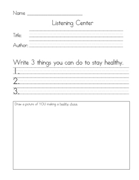 Listening Center Response - Miss Fox's Class Shapes Up by Eileen Spinelli