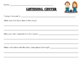 Listening Center Response / Recording Sheet