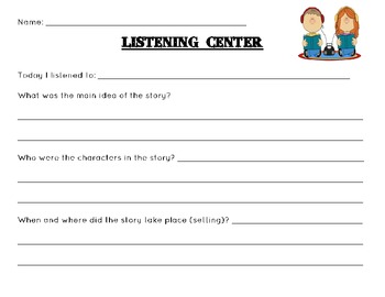 Listening Center Response / Recording Sheet