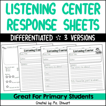 Listening Center Response Sheets (Differentiated)