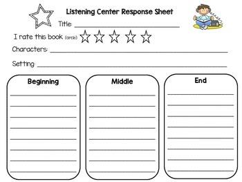 Listening Center Response Sheet for Center