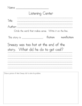 Listening Center Response - Sneezy the Snowman by Maureen Wright