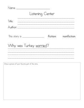 Listening Center Response - Turkey Trouble by Wendi Silvano