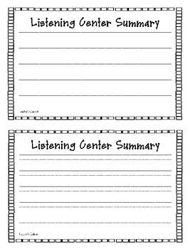 Listening Center Summary {FREEBIE}