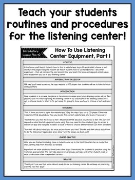 Listening Center Supplementary Materials for First Grade