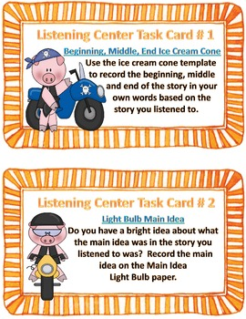 Listening Center Task Cards and Reading Response Activities