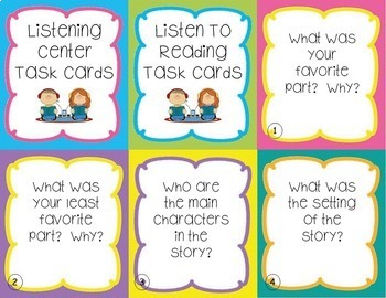 Listening Center Task Cards - EDITABLE - great for Daily 5 and Centers