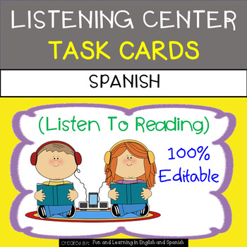 Listening Center Task Cards in SPANISH - EDITABLE - Daily