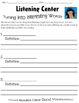 Listening Center Vocabulary Response Sheet