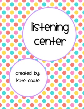Listening Center Worksheet-Writing, Reading Comprehension