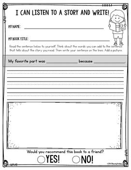FREE! Listening Center {Writing About Reading} Response - First & Kindergarten