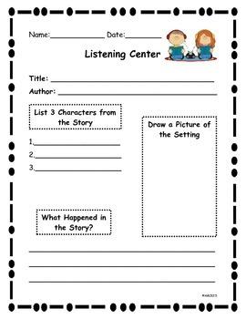 Listening Center Writing Activity