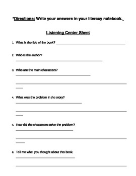 Listening Center recording sheet
