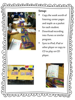 Listening Centers & Recordings (ee, ea, e words & sight words) Unit 4 Week 2
