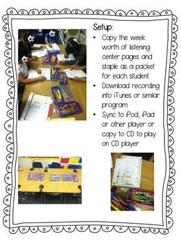 Listening Centers & Recordings (or, oar, ore words & sight words) Unit 5 Week 3