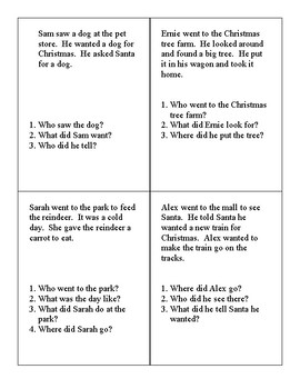 Listening Comprehension 3 Sentence Story Cards