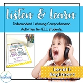 Listening Comprehension Activities for ELL Newcomers {Level 1}