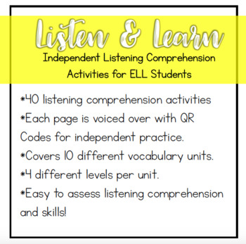 Listening Comprehension Activities for ELL Newcomers {Level 3}