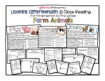 Close Reading & Listening Comprehension for Kindergarten & First Grade: Farm