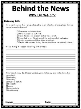 Listening Comprehension - Why Do We Sit? Health and Science