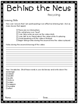 Listening Comprehension News Story Recycling